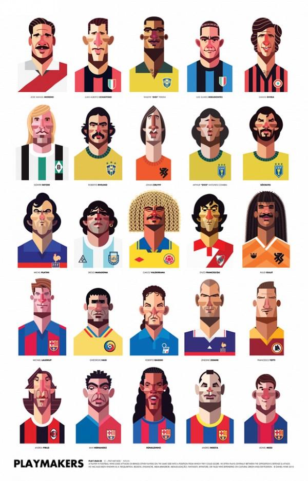 Ilustraciones de futbolistas por Daniel Nyari